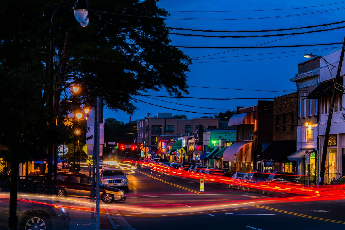 Photograph of 9th St, Durham, by Documentary Night Photography student Ray Tice.