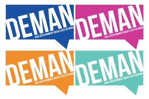 The DEMAN logo in four colors