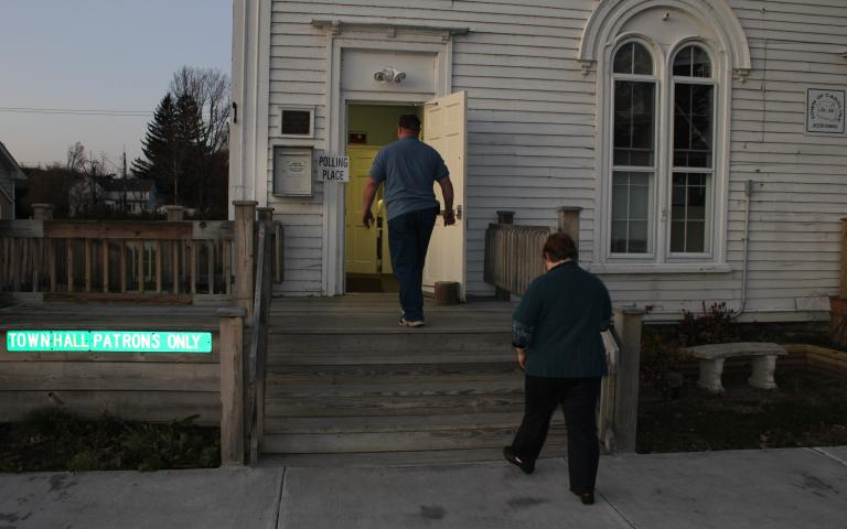 Photo: Voters arrive at the town hall in Caroline, NY, for town board elections in November 2011. Photo by Jon Miller.