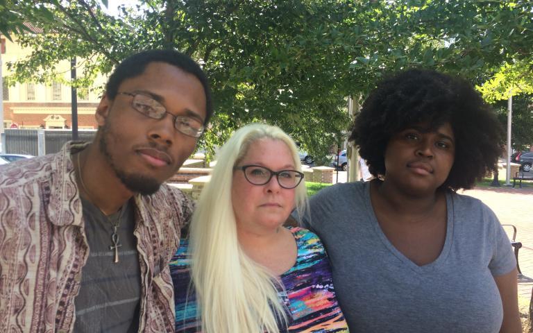 Photo: Kimani Hall, Katt Ryce, and Courtney Smith in downtown Durham. Photo by John Biewen