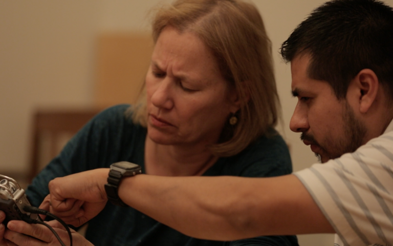 Photo: Debby Bussel and Roberto Nava, at Storymakers training, March 2016. Video still by Ian McClerin.