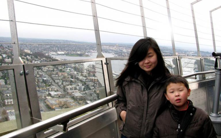 Photo: Shining Li with her brother Joseph, 2011.