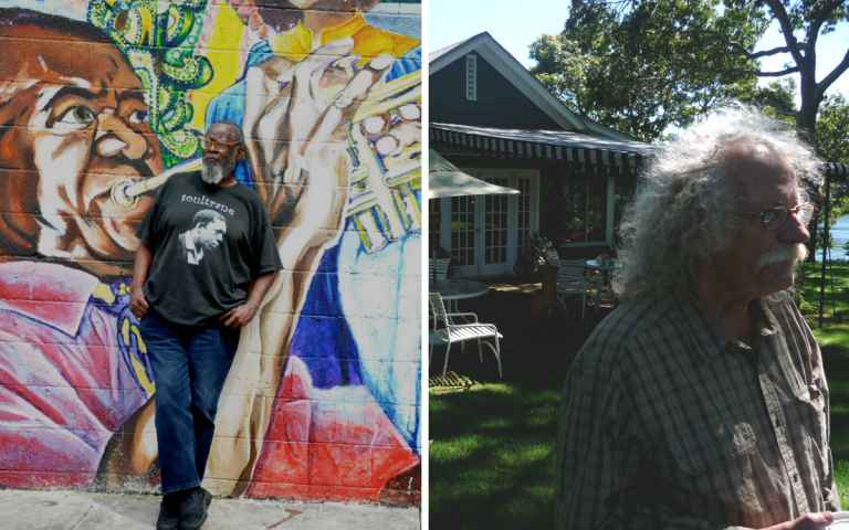 Composite image: Left: Kalamu ya Salaam, photo by Alex Lear. Right: David Slater at John Steinbeck's former home, photo by John Biewen