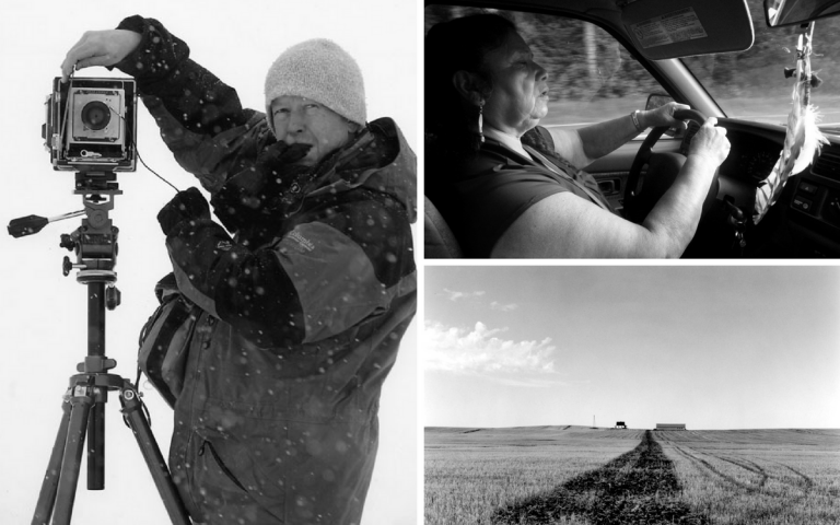 "Composite image: Left, Wayne Gudmundson, photo courtesy Wayne Gudmundson; Top right, Susan ""Tweet"" Burdick, photo by John Biewen; Lower right, North Dakota landscape photo by Wayne Gudmundson."
