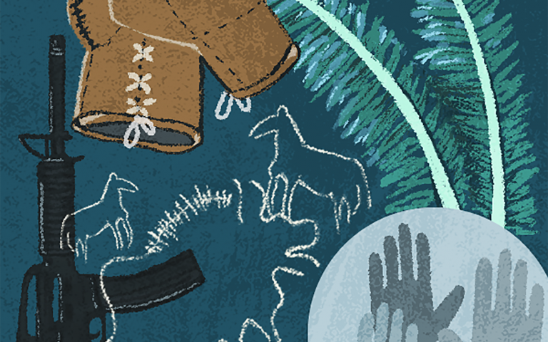 An illustration of objects from the episode: feathers, hands, a gun, boxing gloves, cave paintings.