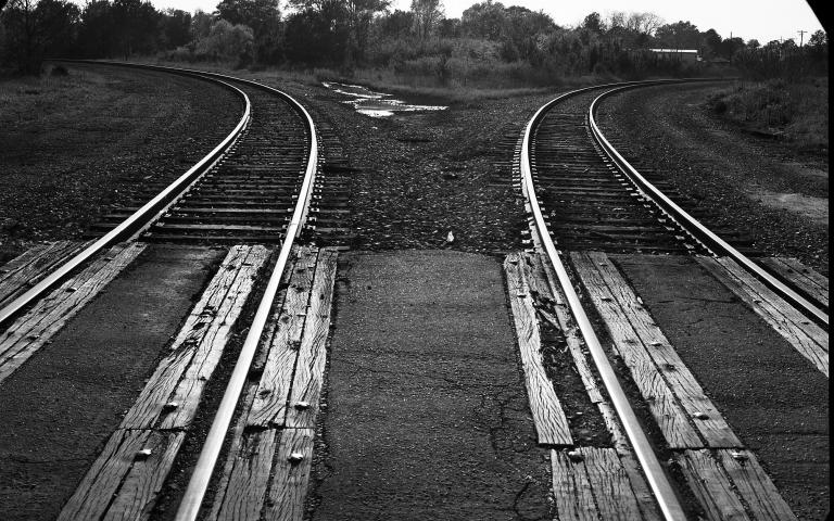 Photo: The bend in the railroad tracks, about one block from Thelonious Monk's birthplace in Rocky Mount, North Carolina