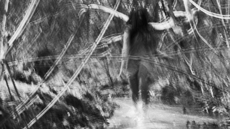 A blurry photo of a woman with her back towards the camera walking through a forest.