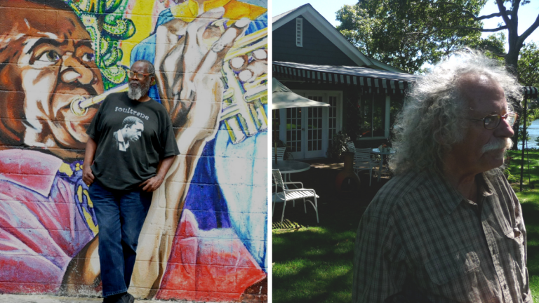 Composite image: Left: Kalamu ya Salaam, photo by Alex Lear. Right: David Slater at John Steinbeck's former home, photo by John Biewen