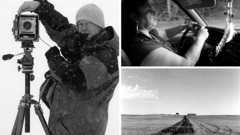 "Composite image: Left, Wayne Gudmundson, photo courtesy Wayne Gudmundson; Top right, Susan ""Tweet"" Burdick, photo by John Biewen; Lower right, North Dakota landscape photo by Wayne Gudmundson."