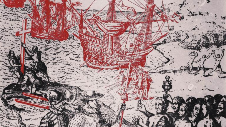 Engraving from Herrera, 'Historia General De Los Hechos De Los Castellanos,' 1601. Edited photo has ships and weapons in red.