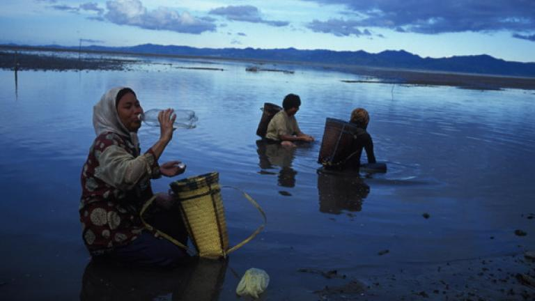 While the men wade off to fish with their nets, Rungus women near the village of Kudat search for shrimp and shellfish with their hands.  The population of Sabah is divided among thirty-two recognized ethnic groups; the Rungus, who live in the region surrounding Kudat, are one of the most traditional groups.