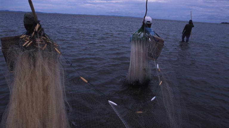 Three men go fishing in Pitas district.
