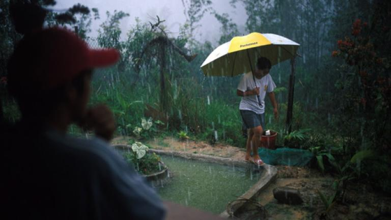 During a downpour in Bundu, a girl runs outside in order to save a fishpond from overflowing.
