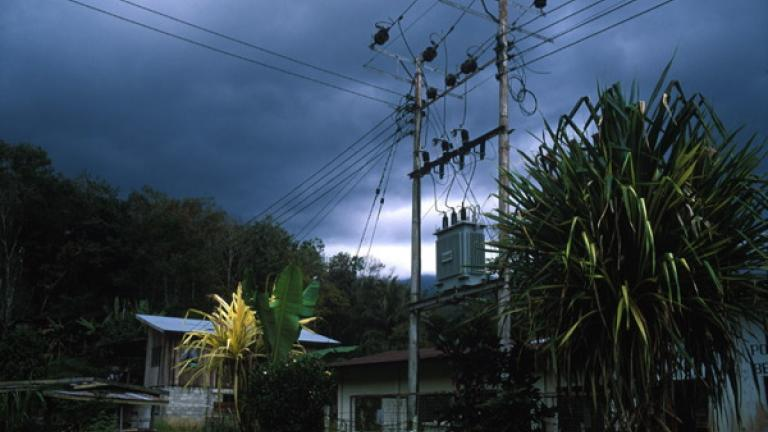 An electricity pylon in Kampung Podos, near Kota Belud--a village fortunate enough to have electric power.   PACOS is currently building small hydroelectric generators in some of the more remote villages of Malaysia.