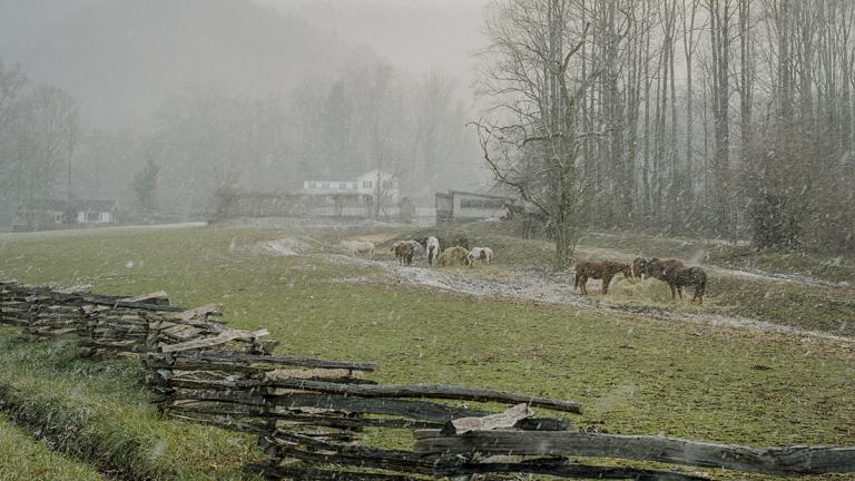 The pasture and Big House in a January snowstorm. January 2007. Photo by Ken Abbott.