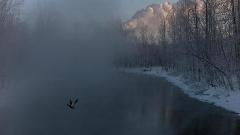 "Chaudière River at sunrise, February 2014. From ""Post Mégantic"" by Michel Huneault, winner of the 2015 Lange-Taylor Prize."