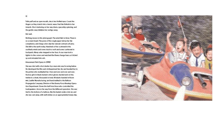 A block of text, left, and an image of Korean children on a carnival ride, right.