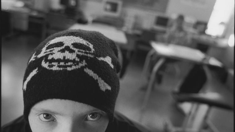 Helgi, a punk rock fan in class at Öskjuhlíðarskóli, Reykjavik, Iceland 2005