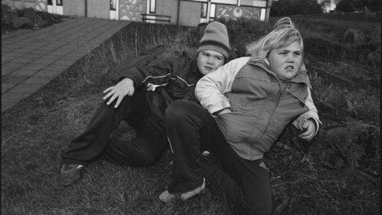 Hildur and Hildur, look-alikes and best friends with the same name, Öskjuhlíðarskóli, Reykjavik, Iceland 2006