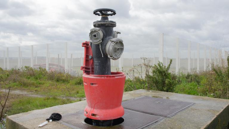 Contaminated fire hydrant, Calais, France, 2017.