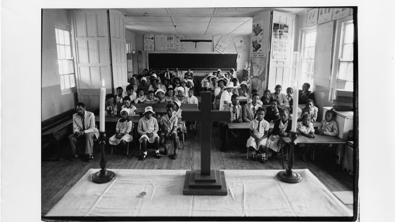 Anglican Church service in classroom. George, Western Cape, 1983. Bee Berman.