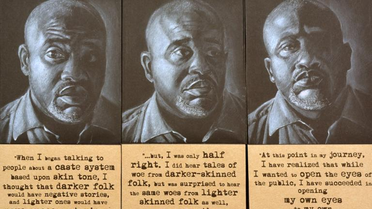 In reflecting on my work and the conversations I had had, I came to the realization that while I had been trying to change preconceived notions about classism and colorism within the African-American community, I had also changed my own preconceptions. Triptych, pastel and collage on black paper bags, 2016, by Steven M. Cozart, winner of the 2016 Lange-Taylor Prize.