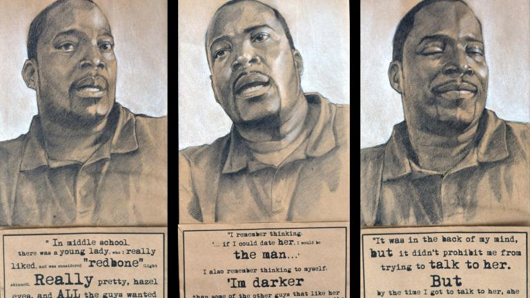 "Dr. Miller shares a memory from his teenage years, when he had a romantic interest in a girl. He remembers hesitating to talk to her because he feared that he was ""too dark"" and she was perhaps ""too light"" to date. Triptych, charcoal, pastel, and collage on brown paper bag, 2014, by Steven M. Cozart, winner of the 2016 Lange-Taylor Prize."