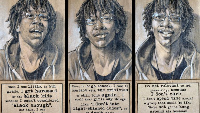 This young man sought me out to have a conversation about his experiences with colorism and classism within the African American community after seeing my work in 2014. Triptych, charcoal, pastel, and collage on brown paper bags, 2016, by Steven M. Cozart, winner of the 2016 Lange-Taylor Prize.