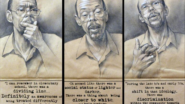 Mr. Cirt Gill discusses how he became aware of issues around skin tone within the African American community during the 1960s and early 1970s. Triptych, charcoal, pastel, and collage on brown paper bags, 2014, by Steven M. Cozart, winner of the 2016 Lange-Taylor Prize.
