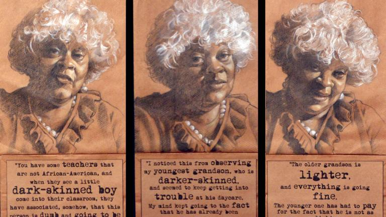 Mrs. Janice Baines, a retired English teacher, shares observations about how her grandchildrens' different skin tones affect their experiences at school. She expressed concern that her grandson who is darker will have more difficult times during his adolescence. Triptych, charcoal, pastel, and collage on brown paper bags, 2014, by Steven M. Cozart, winner of the 2016 Lange-Taylor Prize.