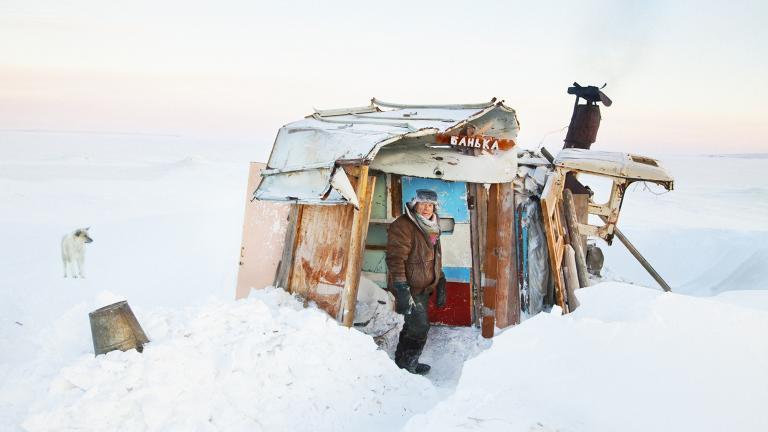 Uncle Vanya near his Banya in January.