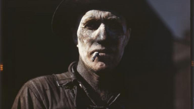 JOHN VACHON. Worker at carbon black plant, Sunray Texas. 1942.