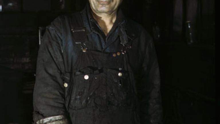 JACK DELANO. Daniel Anastazia, blacksmith's helper at the roundhouse of the Rock Island R.R., Blue Island, Ill. April 1943.