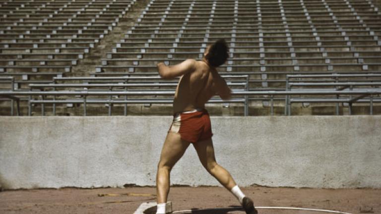 JOHN VACHON. Shot putter, University of Nebraska. 1942.