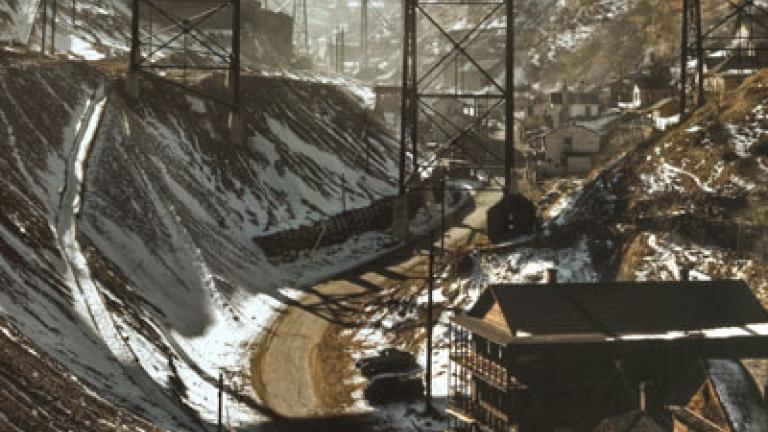 """ANDREAS FEININGER. Carr Fork Canyon as seen from """"G"""" bridge, Bingham Copper Mine, Utah. November 1942."""