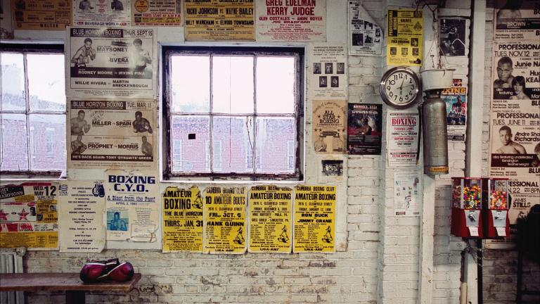 Gym wall and gloves, Front Street Gym, Philadelphia, Pennsylvania, 2003