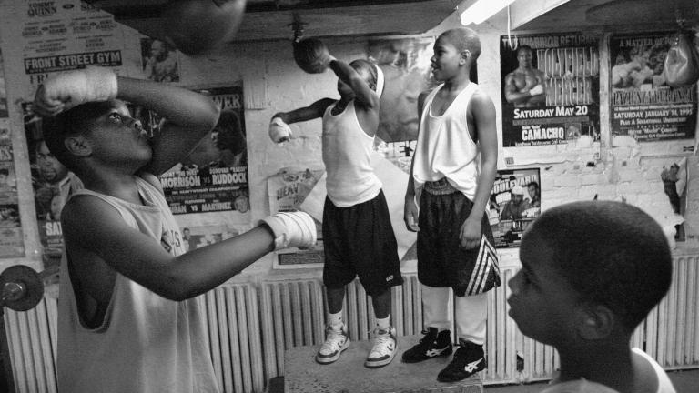 Young fighters at speed bags, Front Street Gym, Philadelphia, Pennsylvania, 2003