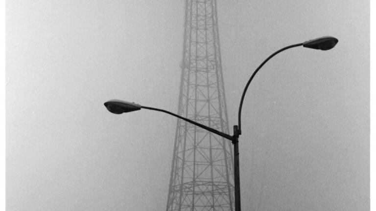 Parachute Jump in Fog, 1982. Photograph by Harvey Stein.