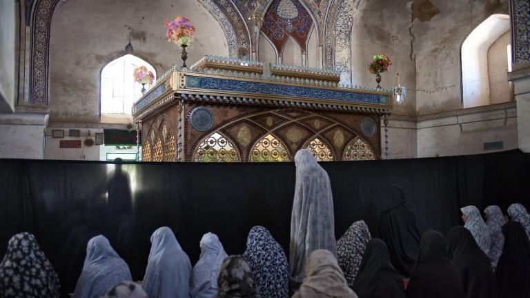 In Herat the shrine to Shahzada Qasim, a descendant of the Prophet Muhammad, is more than a thousand years old. One day of each week a section is partitioned so women can come to worship.