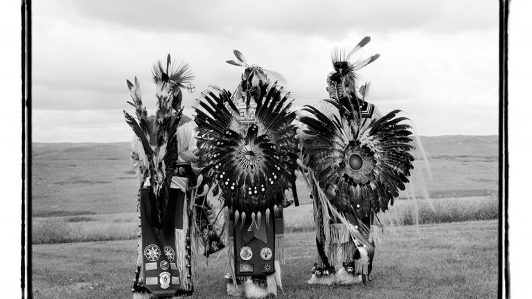 Eagle dancers after the Pow Wow, Pine Ridge Reservation, South Dakota, 1999