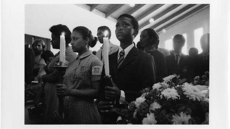 Young pallbearers at the funeral of three boys killed in the Trojan Horse Massacre. Athlone, Cape Town, 1985. Zubeida Vallie.