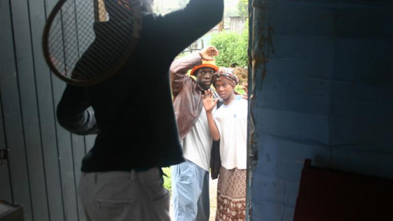 A still photo from 'Stigma and Discrimination,' voted the winning film by the community's children on World AIDS Day 2006. The story follows Spinach, a young man who is kicked out of his house after his father learns he is HIV positive.