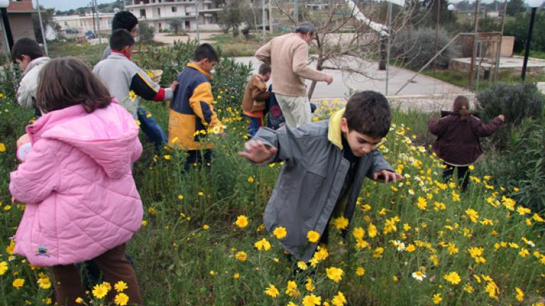 In the spring, programming included taking the children outside to observe the changing environment.