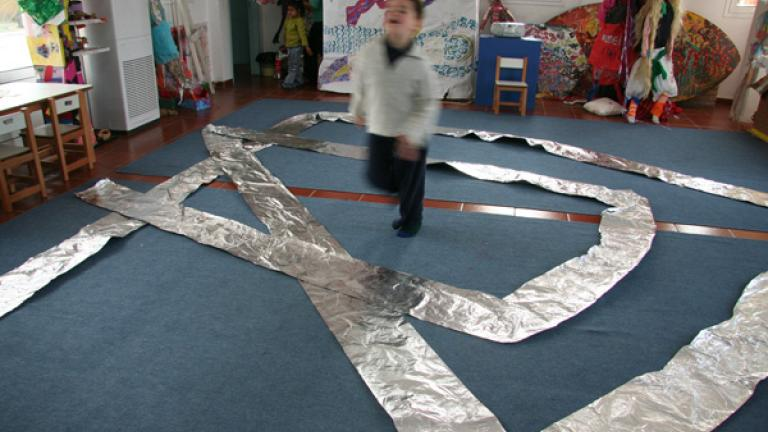 The children often set challenges for themselves, such as making this walkway of silver.