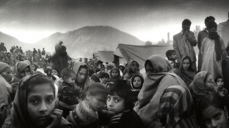 Women and children gather together at an IDP (internally displaced persons) camp in Muzaffarabad, Pakistan-administered Kashmir, following the earthquake, 2005