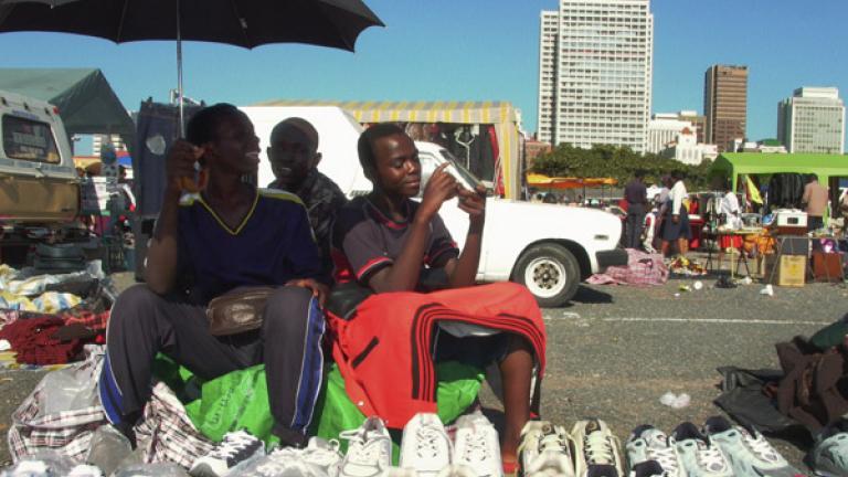 Children from a refugee family at a Sunday market, Baldwin, Kwa Zulu-Natal