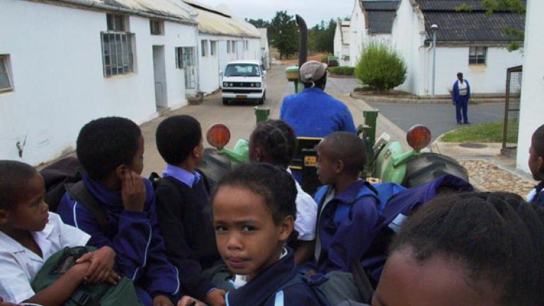 Farm laborers' children on the way to school, Hirsenbosch, Western Cape