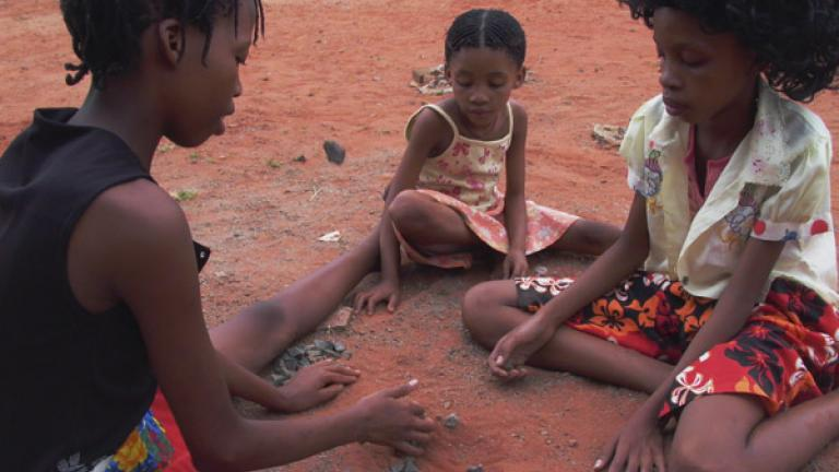 San children at play, Vleifontein, Northern Cape
