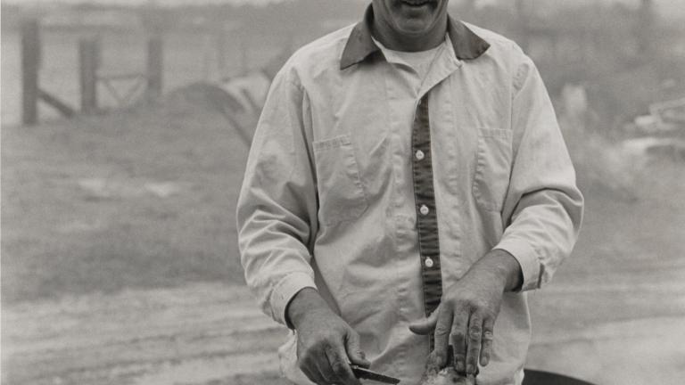 County Farm hog killing, 1983. Photograph by Paul Kwilecki.