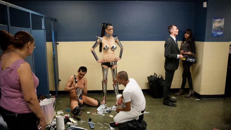 Gisele getting ready, Latex Ball, Manhattan, 2008. Photograph by Gerard H. Gaskin.